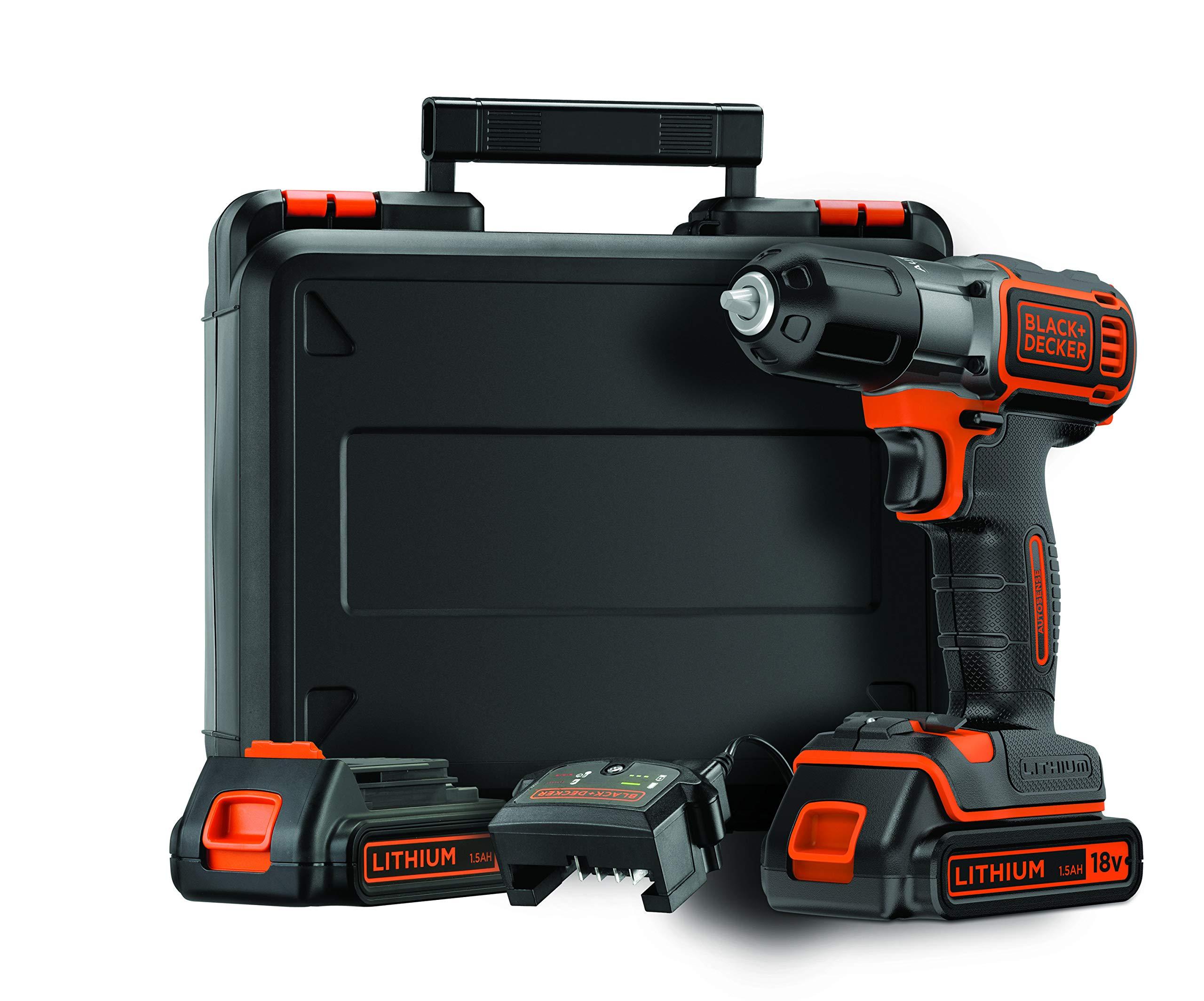 BLACK+DECKER ASD184KB-QW Trapano Avvitatore Autosense, con Doppia Batteria, 18 V, al Litio, 1.5 Ah, Valigetta, Arancione product image
