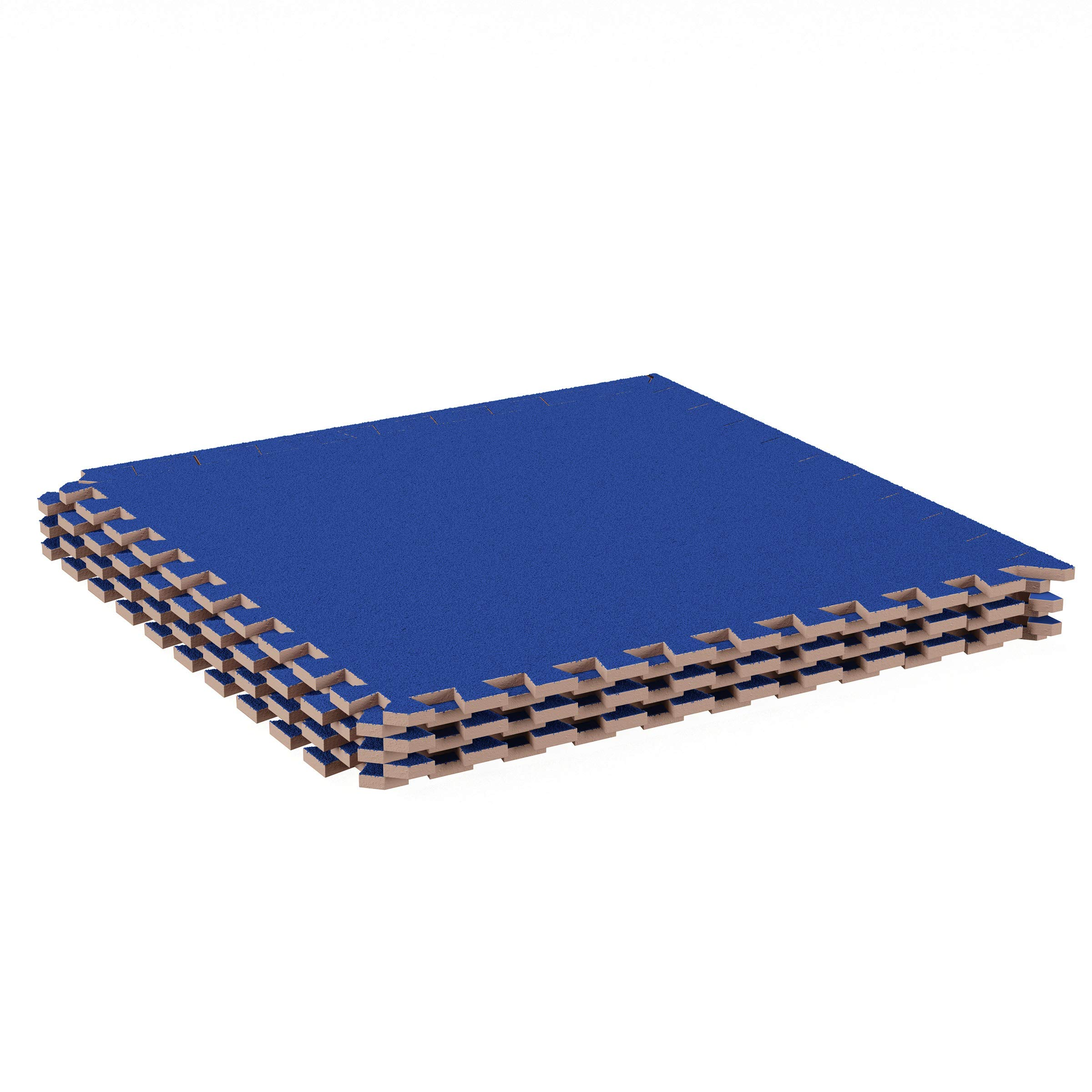 Stalwart Foam Mat Floor Tiles-Interlocking EVA Foam Padding with Soft Carpet Top for Exercise, Yoga, Kids Playroom, Garage, Basement-6PC Set (Blue)
