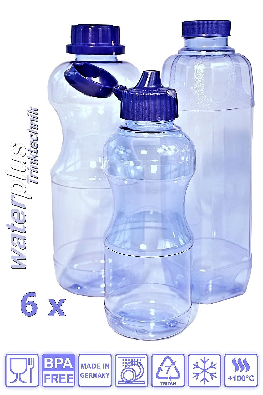 6 x Botella de tritan sin BPA en Set ahorro 2 x 1 Litros (redondo) + 2 x 1 Litros (rectangular) + 2 x 0,5 l (redondo) + 4, + 3 estándar, ...