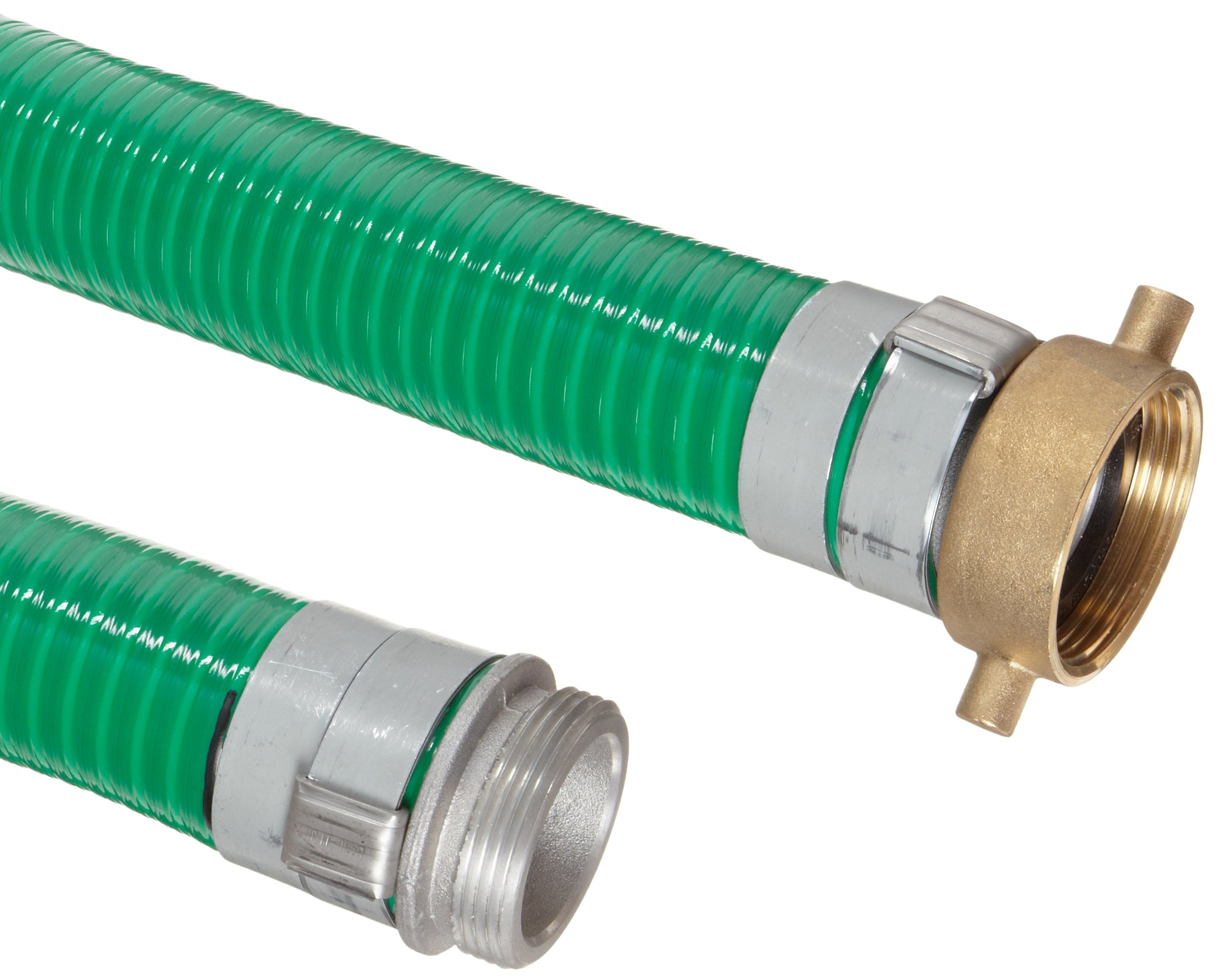 Goodyear EP Spiraflex Aggie Green PVC Suction/Discharge Hose Assembly, 4'' Aluminum Male x Brass Female Swivel Connection, 29mmHg Vacuum Rating 55 PSI Maximum Pressure, 20' Length, 4'' ID