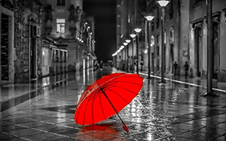Red color pop umbrella in a black and white streetscape a1 canvas art print poster 25