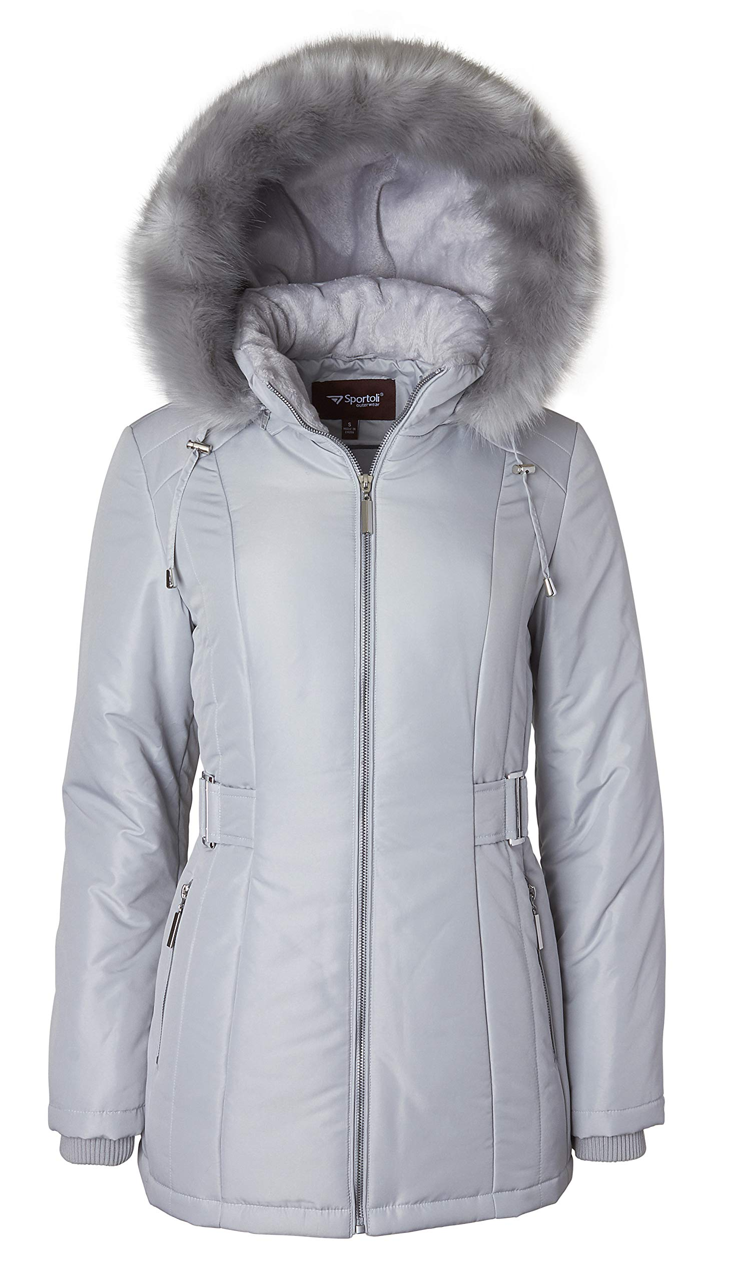 Women's Midlength Down Alternative Puffer Coat Fur Trim Plush Lined Detachable Hood - Pewter (Largre)
