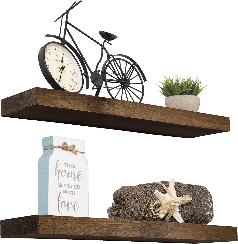 "Imperative Décor Floating Shelves Rustic Wood Wall Shelf USA Handmade | Set of 2 (Dark Walnut, 36"" x 5.5"")"
