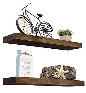 "Imperative Décor Floating Shelves Rustic Wood Wall Shelf USA Handmade | Set of 2 (Dark Walnut, 24"" x 5.5"")"