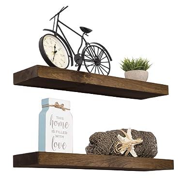 Imperative Décor Floating Shelves Rustic Wood Wall Shelf USA Handmade   Set of 2 (Dark Walnut, 24  x 5.5 )