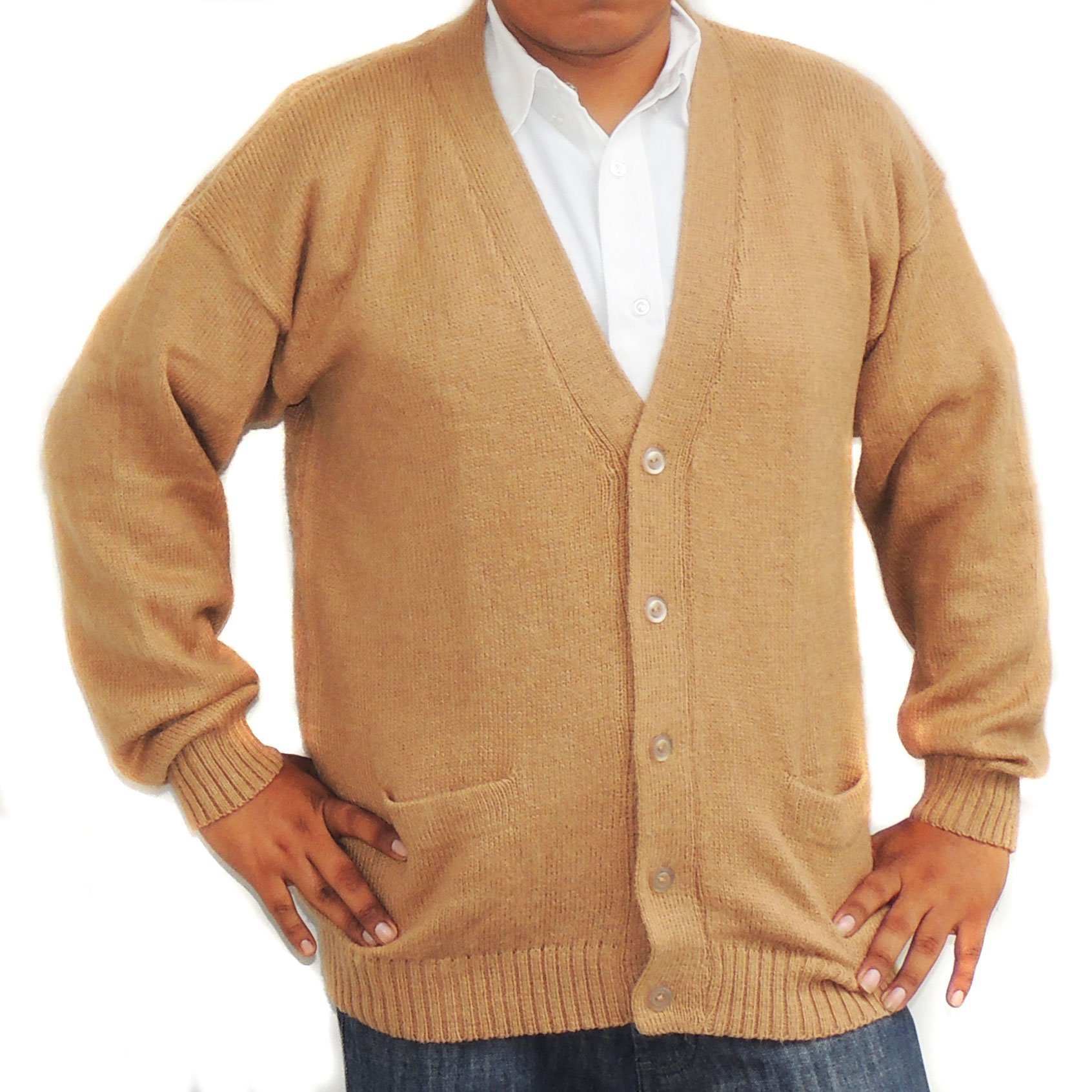 ALPACA CARDIGAN GOLF SWEATER JERSEY V neck buttons and Pockets made in PERU CAMEL L