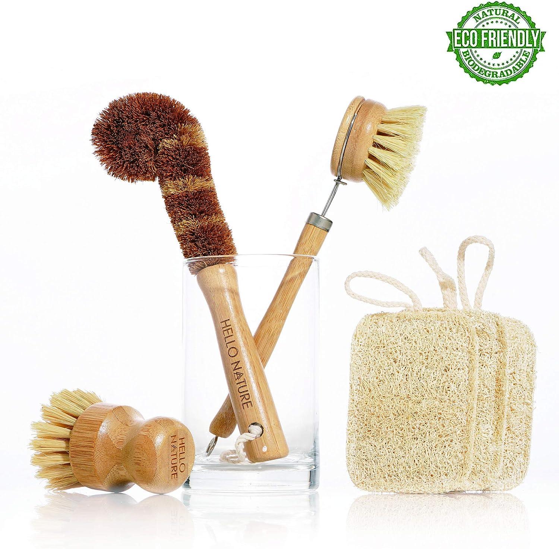 Plant-based 6pcs Kitchen Brush Set by HELLO NATURE, Sustainable & Biodegradable Natural fibre Bamboo Dish Brush,Bottle Brush,Pot Brush & 3 Natural Loofah Sponges, Zero-waste,Plastic Free Kitchen set