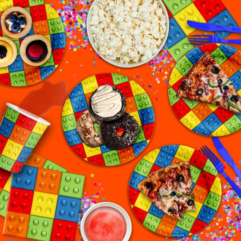 Robot Blocks Birthday Party Supplies Large 9 Plates 80pcs Value Pack Birthday Galore