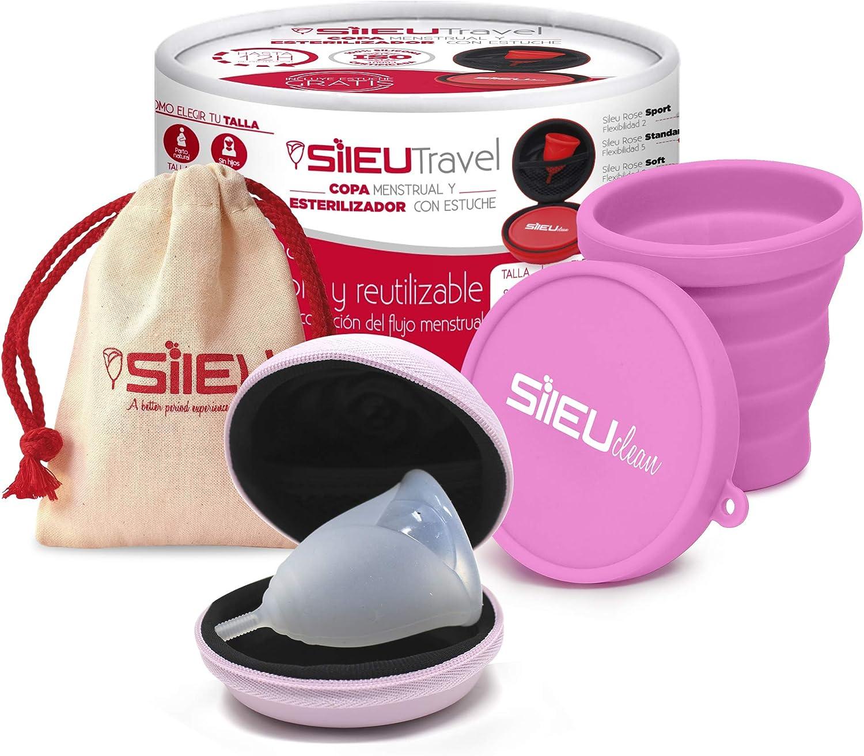 Pack Sileu Travel: Copa menstrual Rose - Modelo de iniciación - Talla S, Transparente, Flexibilidad Standard + Estuche de Flor Rosa + Esterilizador ...
