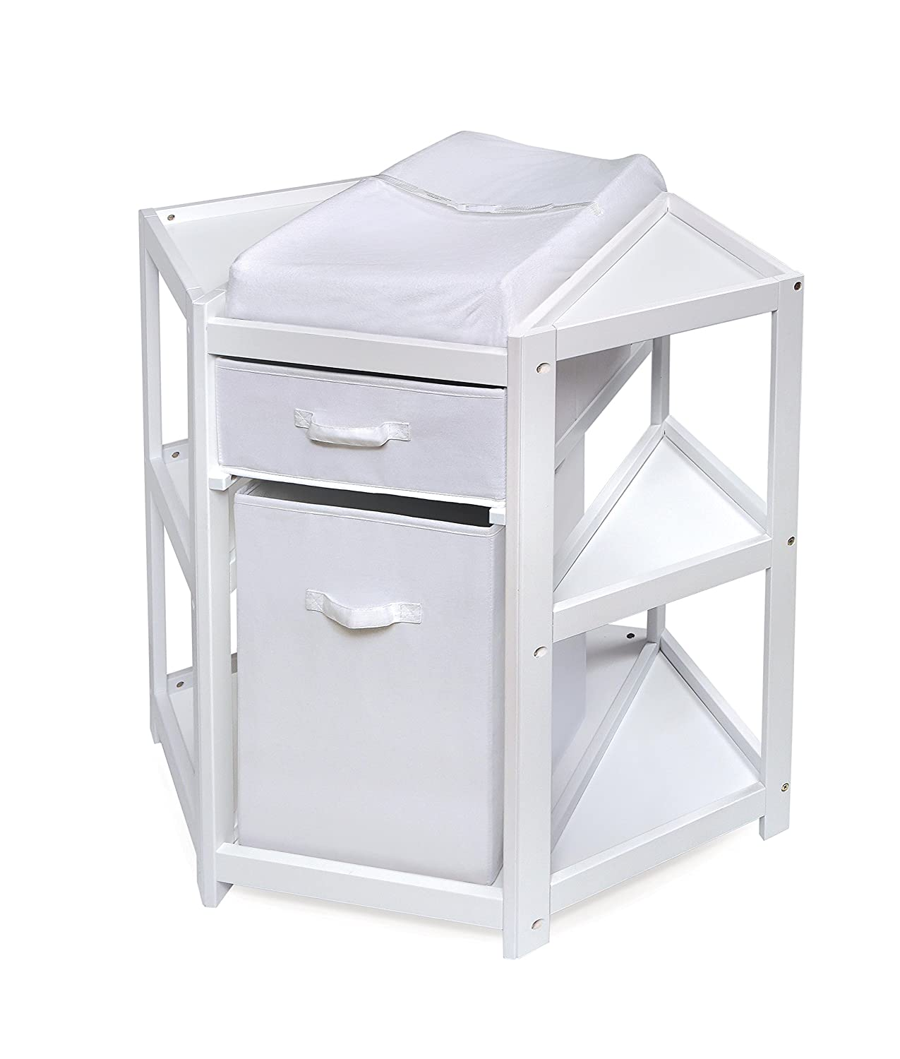 Amazon.com : Badger Basket Diaper Corner Baby Changing Table With  Hamper/Basket, White : Baby