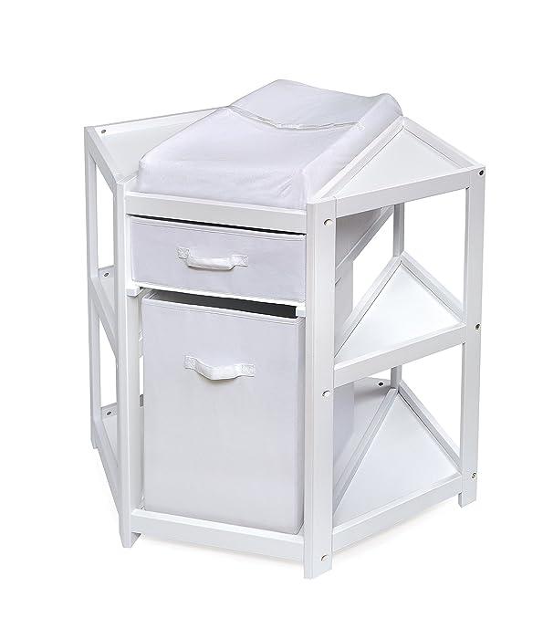 Badger Basket Diaper Corner Baby Changing Table with Hamper/Basket, White