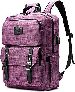 Laptop Backpack Women Men College Backpacks Bookbag Vintage Backpack Book Bag Fashion Back Pack Anti Theft Travel Backpacks with Charging Port fit 15.6 Inch Laptop
