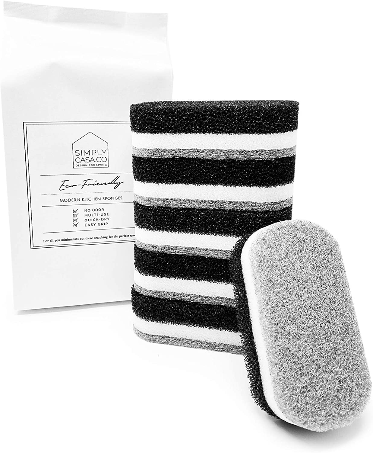 SIMPLYCASA Modern Kitchen Dish Cleaning Sponge Pack of 6 / Non Scratch, No Odor, No Mold, Quick Dry