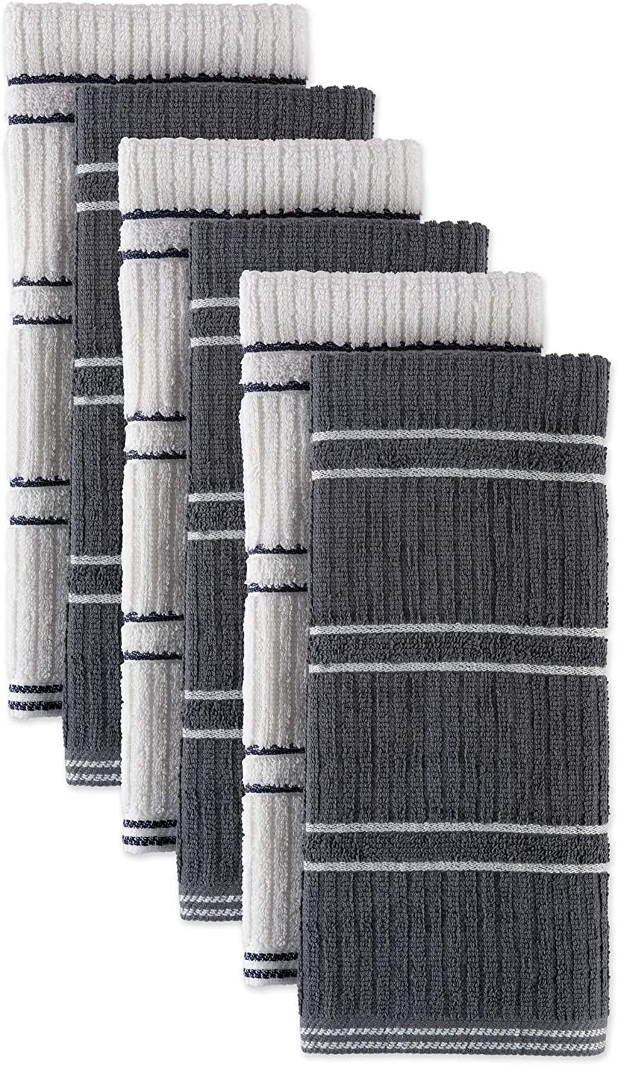 J&M Home Fashions 70322A Cotton Ribbed Terry Towel, Absorbent Durable Drying Cleaning Kitchen Cloths, 18X25, Gray 6 Pack
