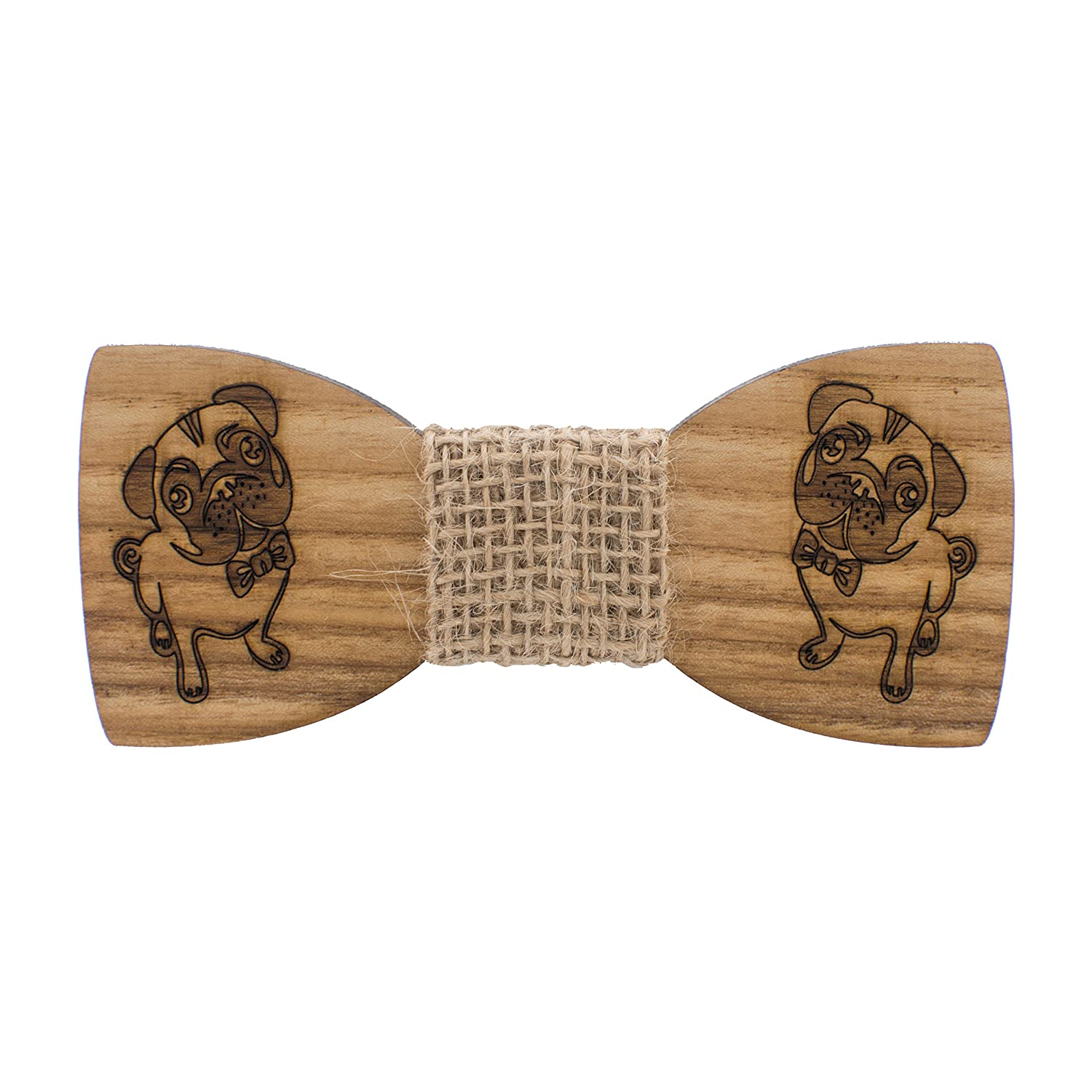 Bow Tie House Wooden Bow Tie Pug-dog laser cut burlap material pre-tied shape 07349