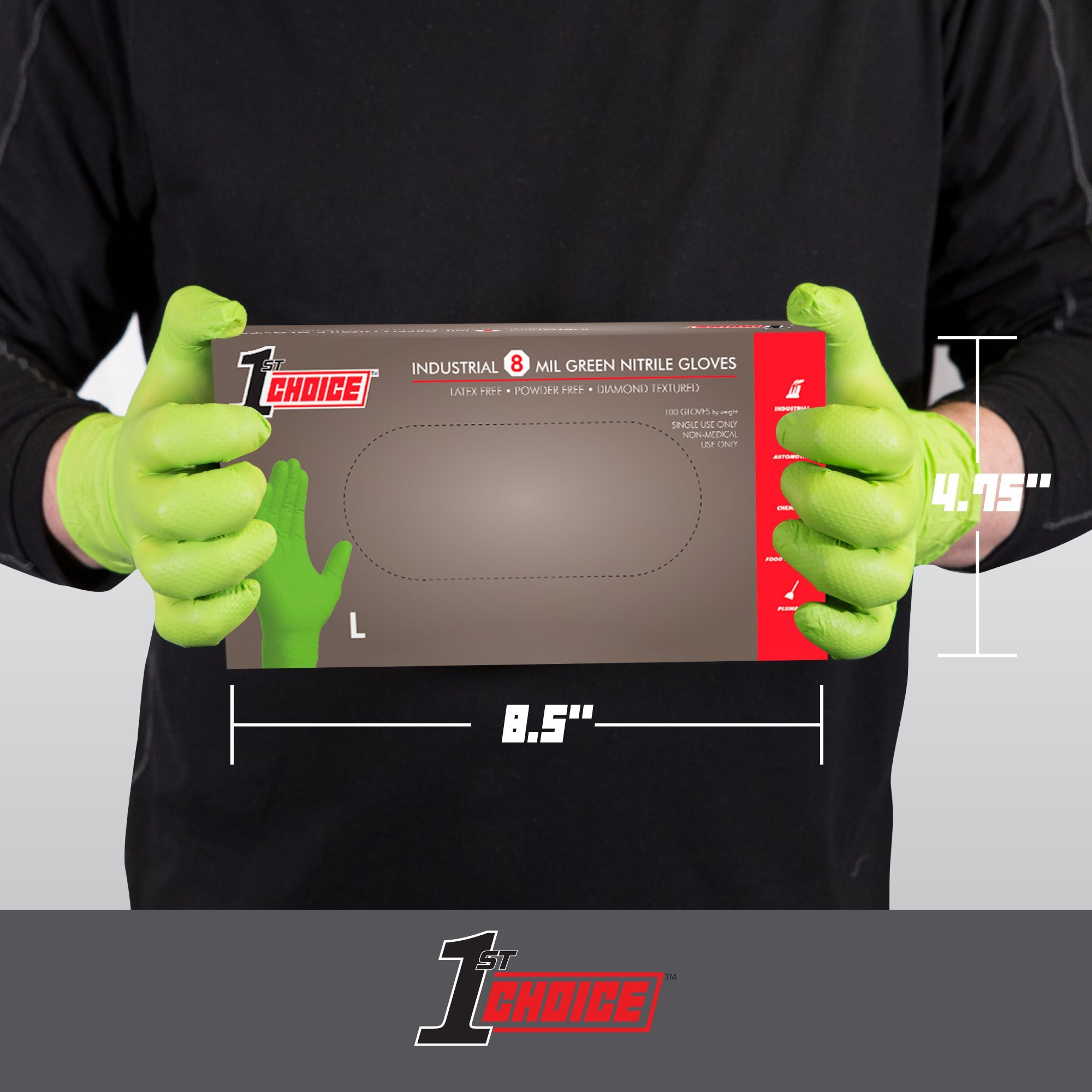 1st Choice Industrial 8 Mil Green Nitrile Gloves - Latex Free, Powder Free, Non-Sterile, Large, Case of 400