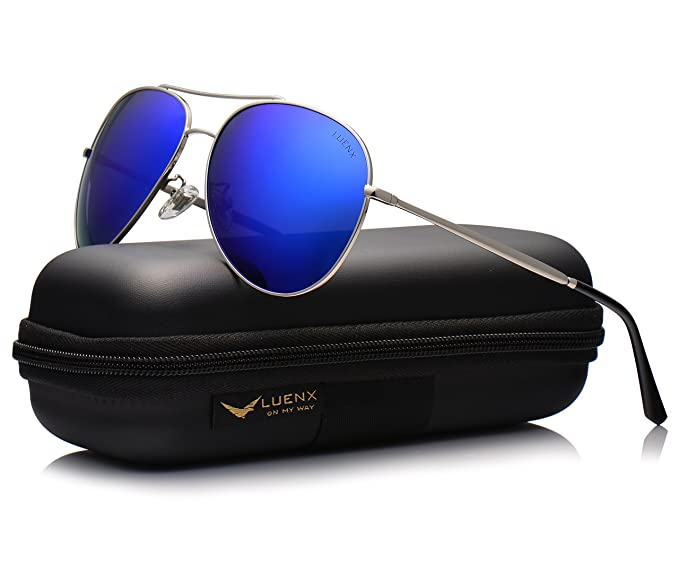3ec1132d48 Image Unavailable. Image not available for. Color  LUENX Aviator Sunglasses  Men Women Mirror Polarized UV400 Metal Frame 60MM ...