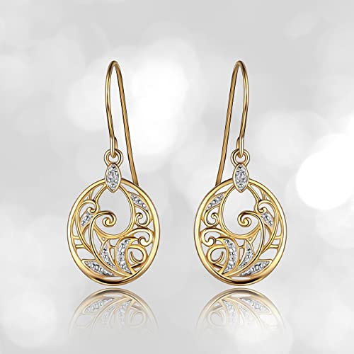 eea26ebc1 Amazon.com: 18k Yellow Gold Plated Sterling Silver Diamond Accent Filigree  Disc Dangle Earrings: Jewelry