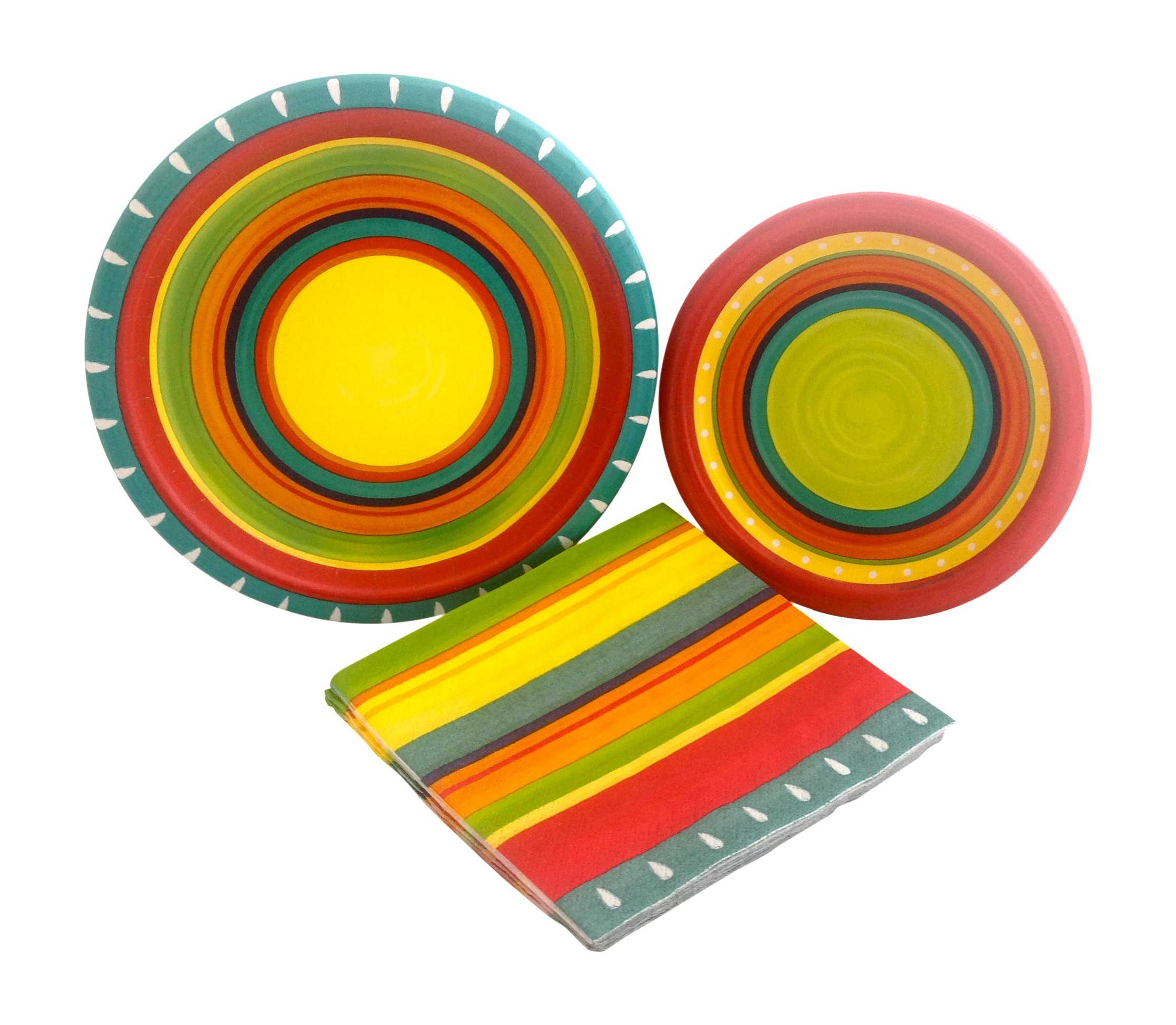 Summer Stoneware Fiesta Party Supply Bundle with Paper Plates and Napkins for 8 Guests