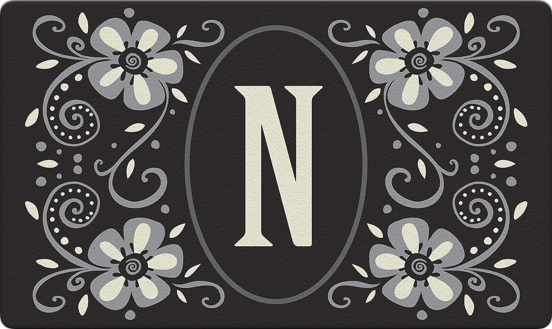 Toland Home Garden Classic Monogram N 18 x 30 Inch Decorative Floor Mat Flower Design Pattern Doormat