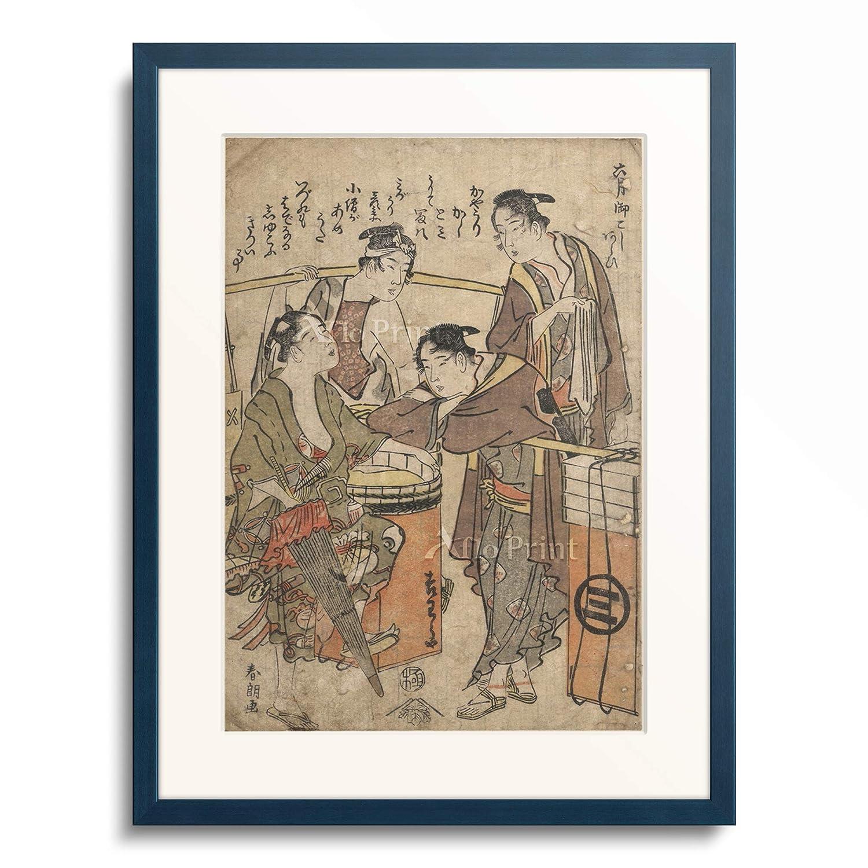 葛飾北斎 Katsushika Hokusai 「仁和嘉狂言 」 額装アート作品 XL(額内寸 727mm×545mm) 10.木製額 13mm(青) B07PTZ17C7
