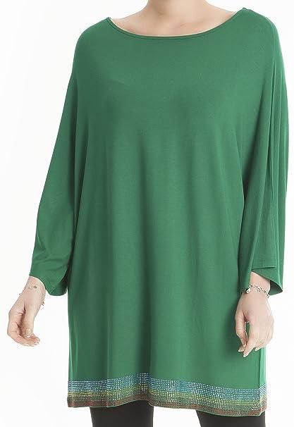 Hüseyin Kücük Mujer Ocio túnica schlicht alta calidad Licra, vestido Loose Fit Noche Mode/