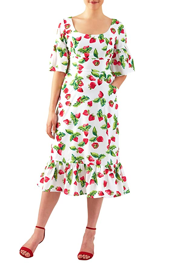 1940s Pinup Dresses for Sale Strawberry print crepe ruffle flounce hem dress $67.95 AT vintagedancer.com