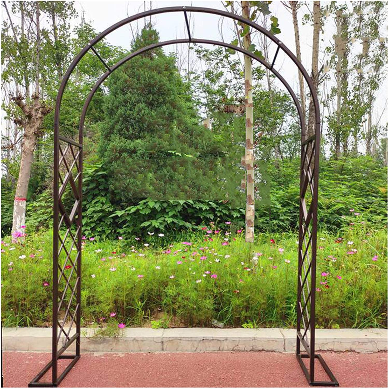 HLMBQ Garden Arch Trellis for Climbing Plants Roses Vines Outdoor Garden Lawn Backyard Patio,Sturdy Wedding Arbor Metal Archway Arbour 1.4mx2.7m/4.6x9ft