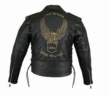 Chaqueta de piel para moteros para hombre, con un águila ...