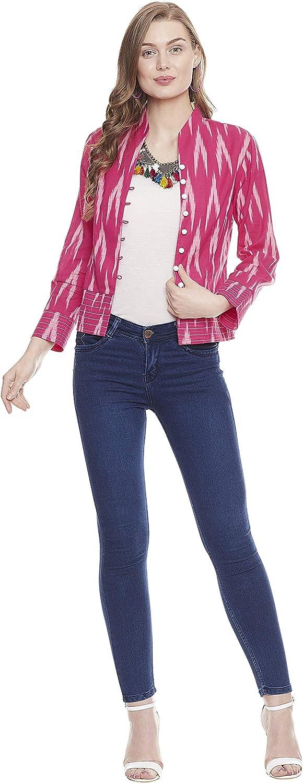 Indigo Paisley Ava Womens Yarn Dyed Cotton Ikkat Lightweight Full Sleeve Jacket Style Shirt