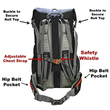 GoBackTrail Roll Top Black Backpack - Ultralight 25L - 40L with Removable  Internal Frame – Always The Right Size - Water Resistant – Comfortable for  Men ... b84dcbbf4600c