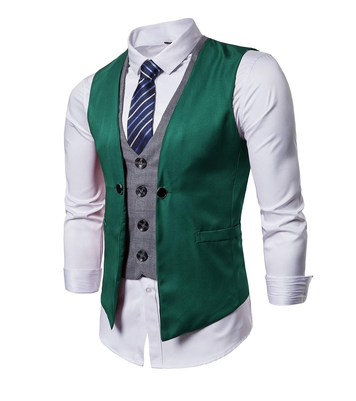 AYG Men Suit Waistcoats Slim Fit Formal Business Suit Vest Jacket Size S-3XL with Blue Striped Necktie ►VE03/M12