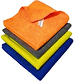 SOBBY Microfiber Car Cleaning Cloth Set Of 4 For Detailing & Polishing 40 Cm X 40 Cm, Muticolor