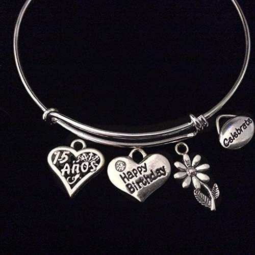 Happy Quincea/ñera Charm Bracelet Birthday Gift Stainless Steel Expandable Bangle