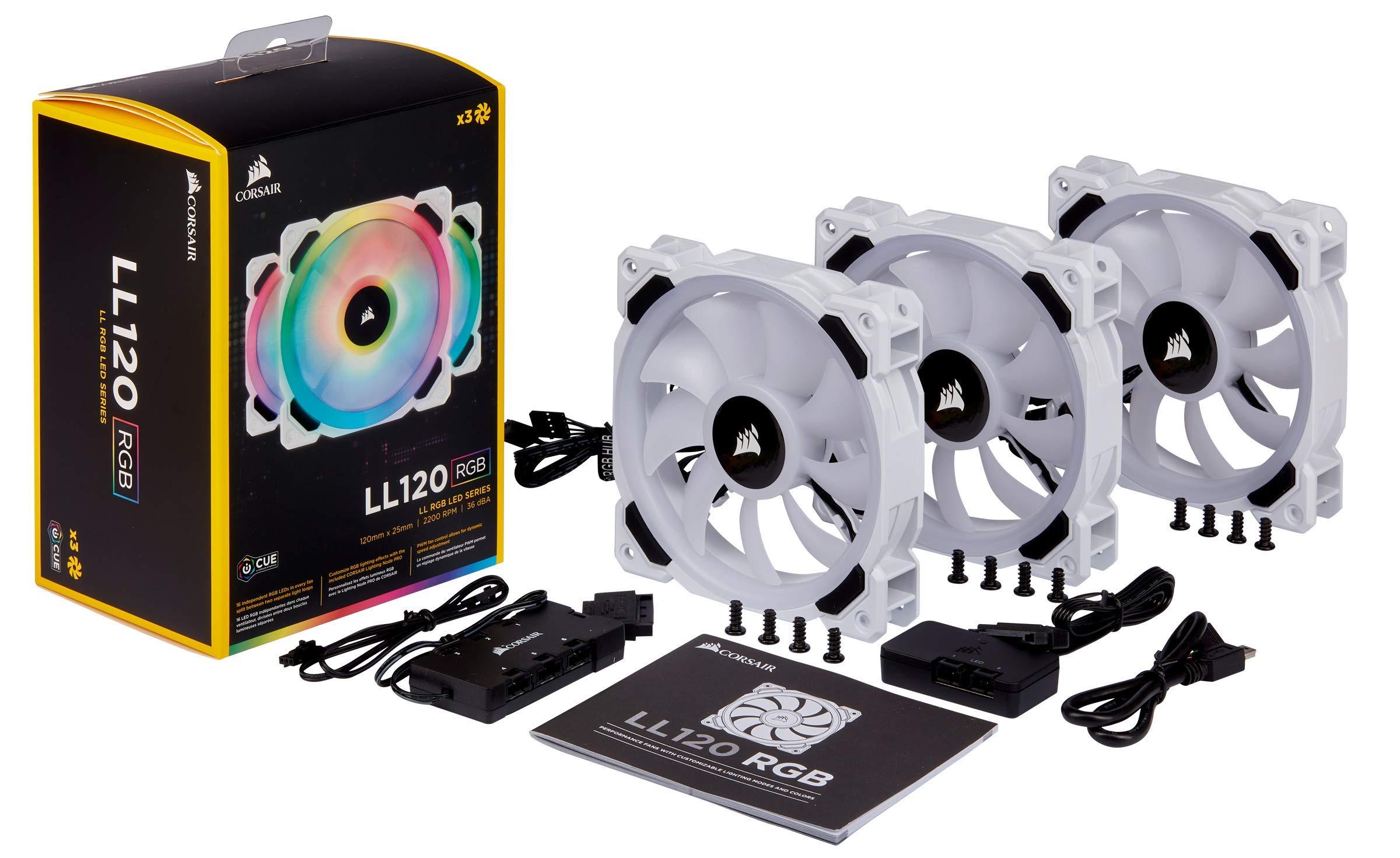 CORSAIR LL Series, LL120 RGB, 120mm RGB LED Fan, Triple Pack with Lighting Node PRO- White by Corsair (Image #7)