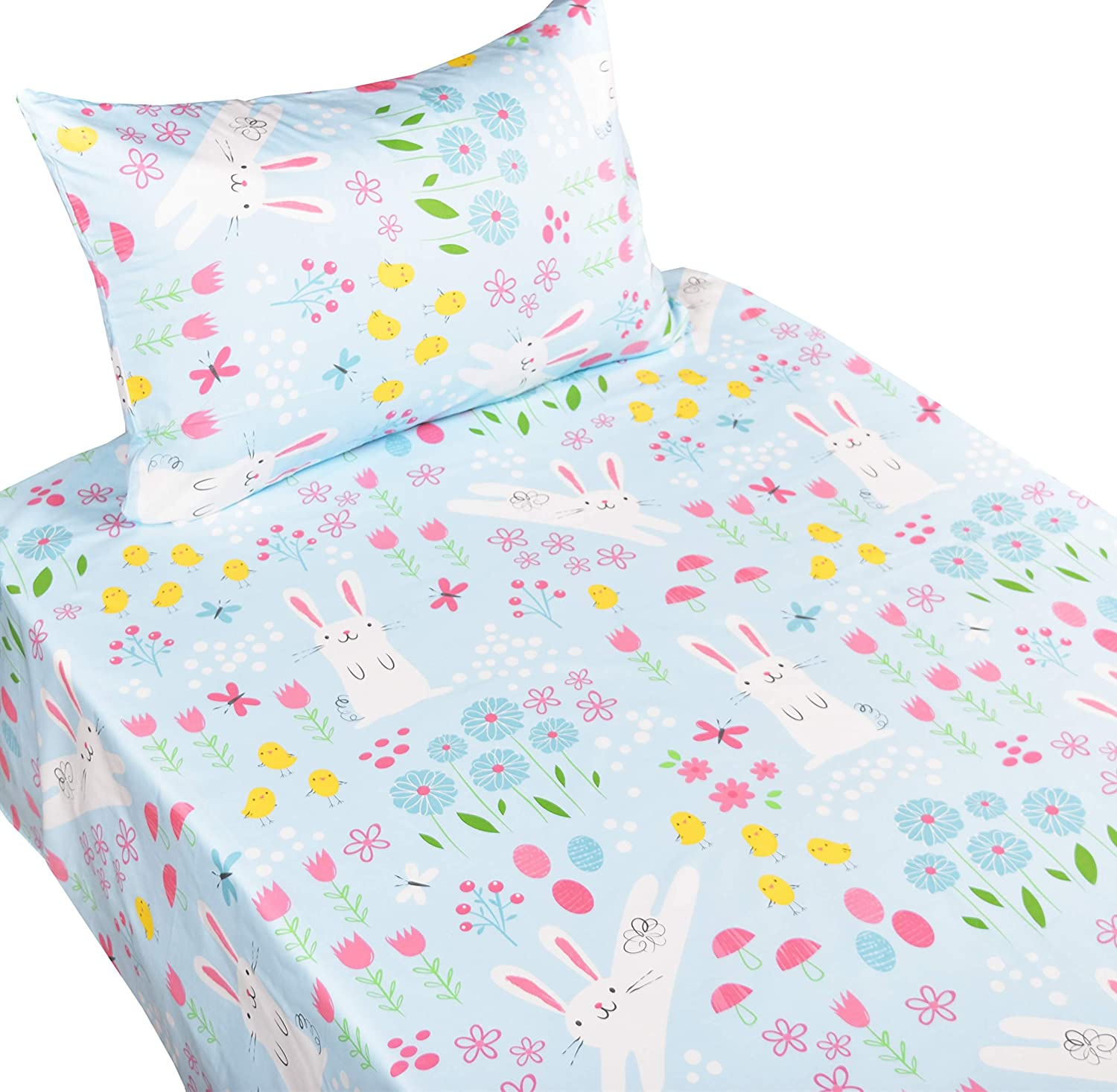 J-pinno Cute Rabbit Paly in The Flowers Twin Sheet Set for Kids Boys Girls Children,100% Cotton, Flat Sheet + Fitted Sheet + Pillowcase Bedding Set