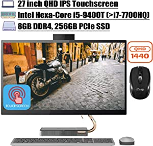 "2020 Latest Lenovo Ideacentre A540 Flagship All in One Desktop Computer 27"" QHD IPS Touchscreen Intel Hexa-Core i5-9400T (Beats i7-7700HQ) 8GB DDR4 256GB PCIe SSD WiFi Win 10 + iCarp Wireless Mouse"