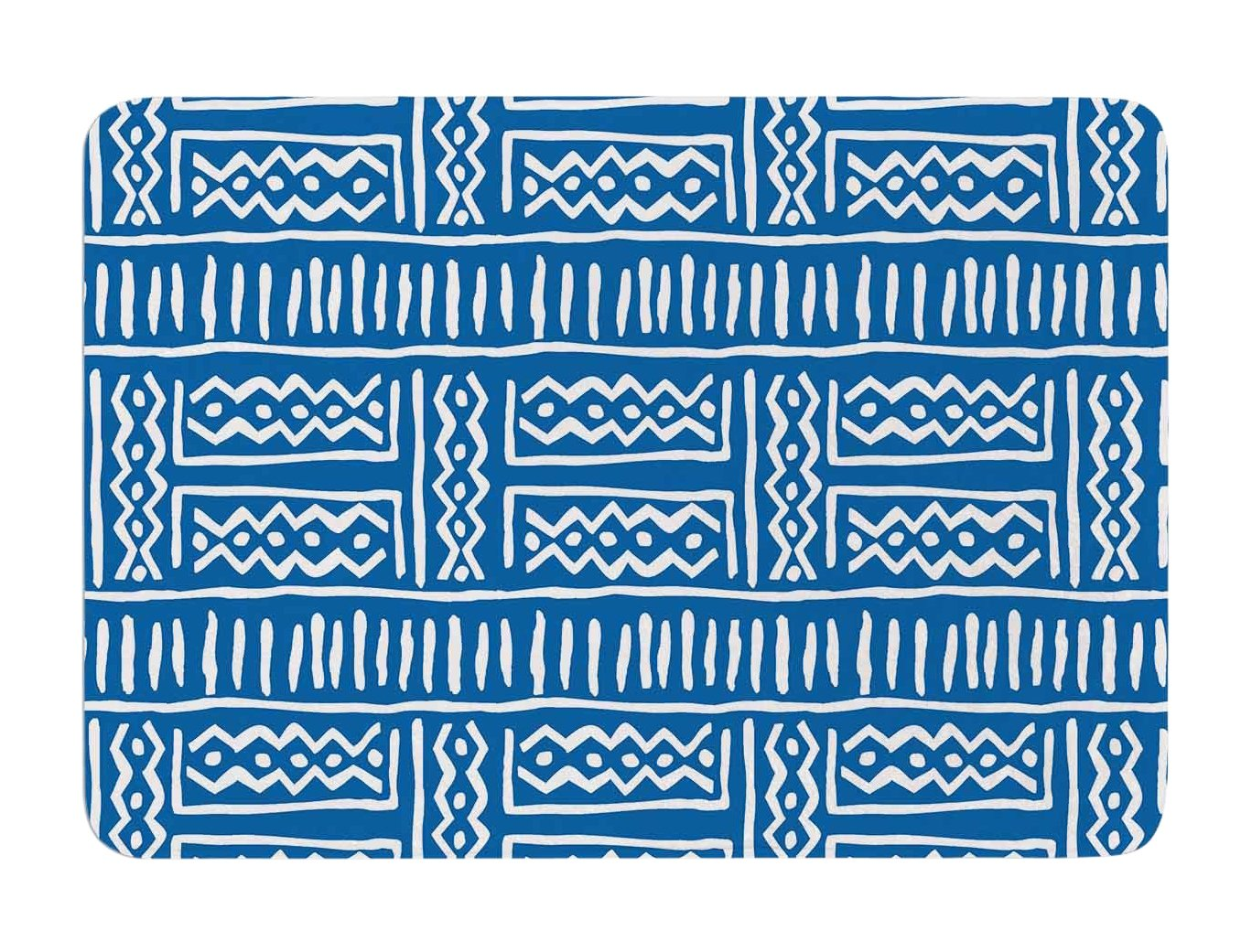24 X 36 24 by 36-Inch Kess InHouse Dan Sekanwagi Lines and Zigzags Blue Tribal Memory Foam Bath Mat