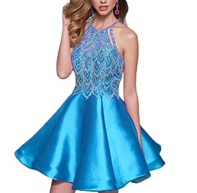 AngelCity Brides 2017 Juniors Halter Prom Dresses Beaded Short Homecoming Dresses