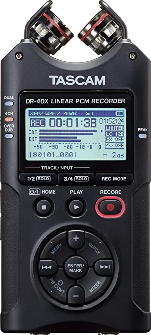 Amazon Com Tascam Dr 40x Four Track Digital Audio Recorder And Usb Audio Interface Black Office Products