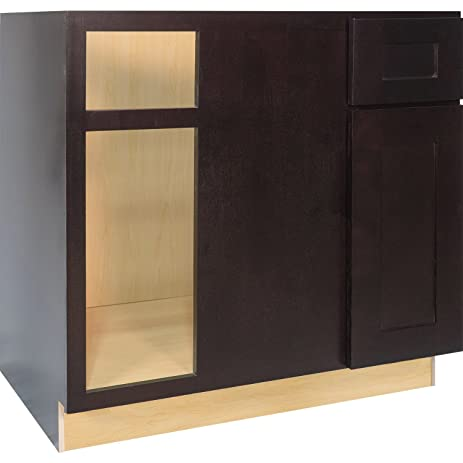 Everyday Cabinets 36 Inch Blind Corner Base Cabinet (Right) In Shaker  Espresso With 1