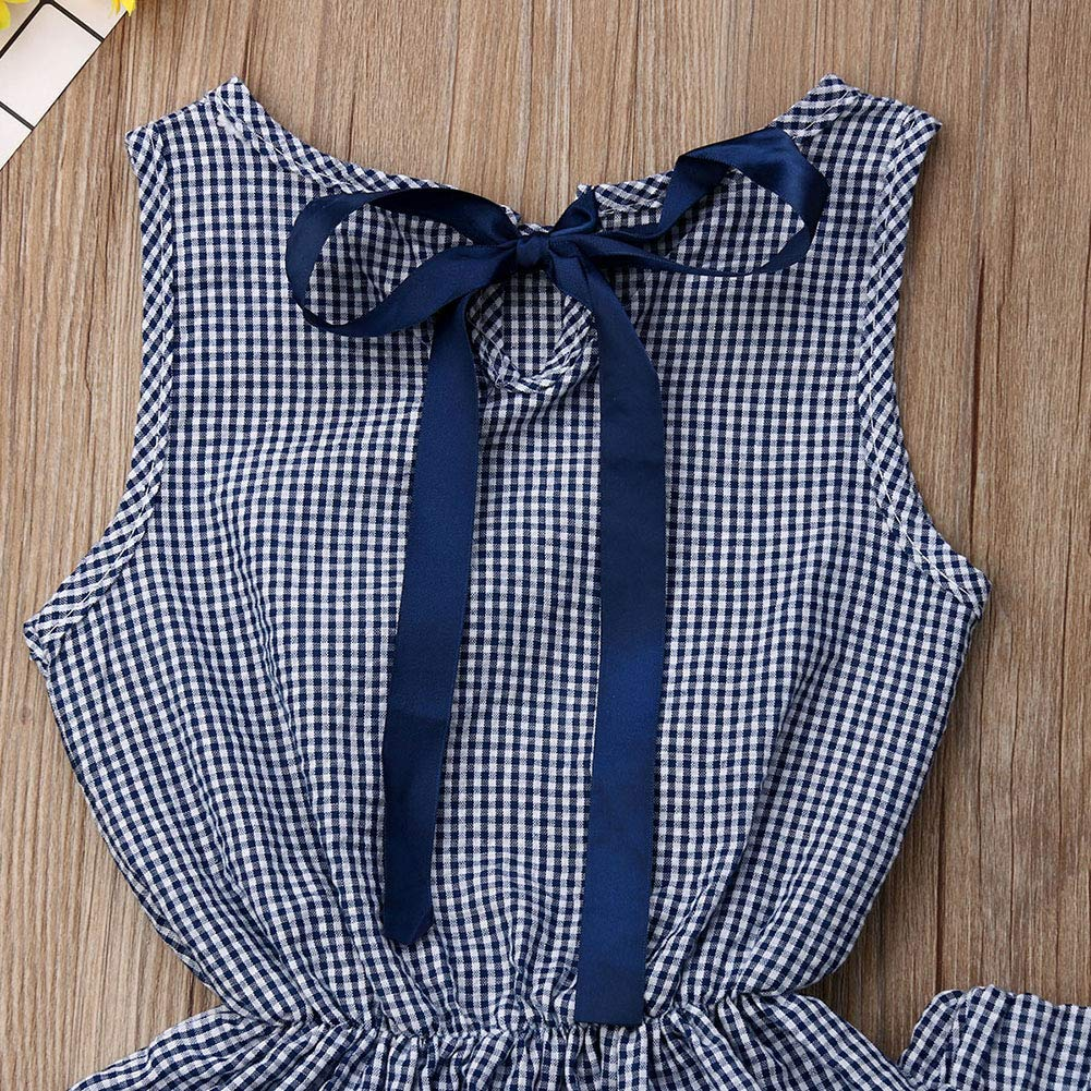 Infant Baby Girl Sleeveless Ruffles Waist Shirt Vest Top Plaids Shorts Set
