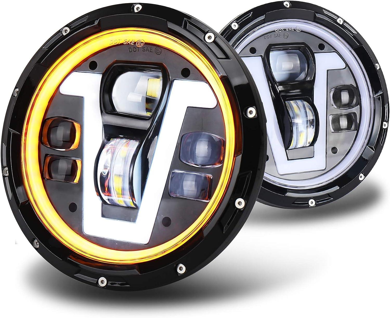 OVOTOR 7 inch Jeep LED Headlights Amber Halo Turn Signal V Type White DRL 50W for Jeep Wrangler JK TJ LJ Hummer H1 H2