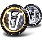 OVOTOR Faros delanteros LED de 7 pulgadas con anillo halo ámbar, direccionales tipo V blanco DRL haz alto y bajo para Jeep Wr