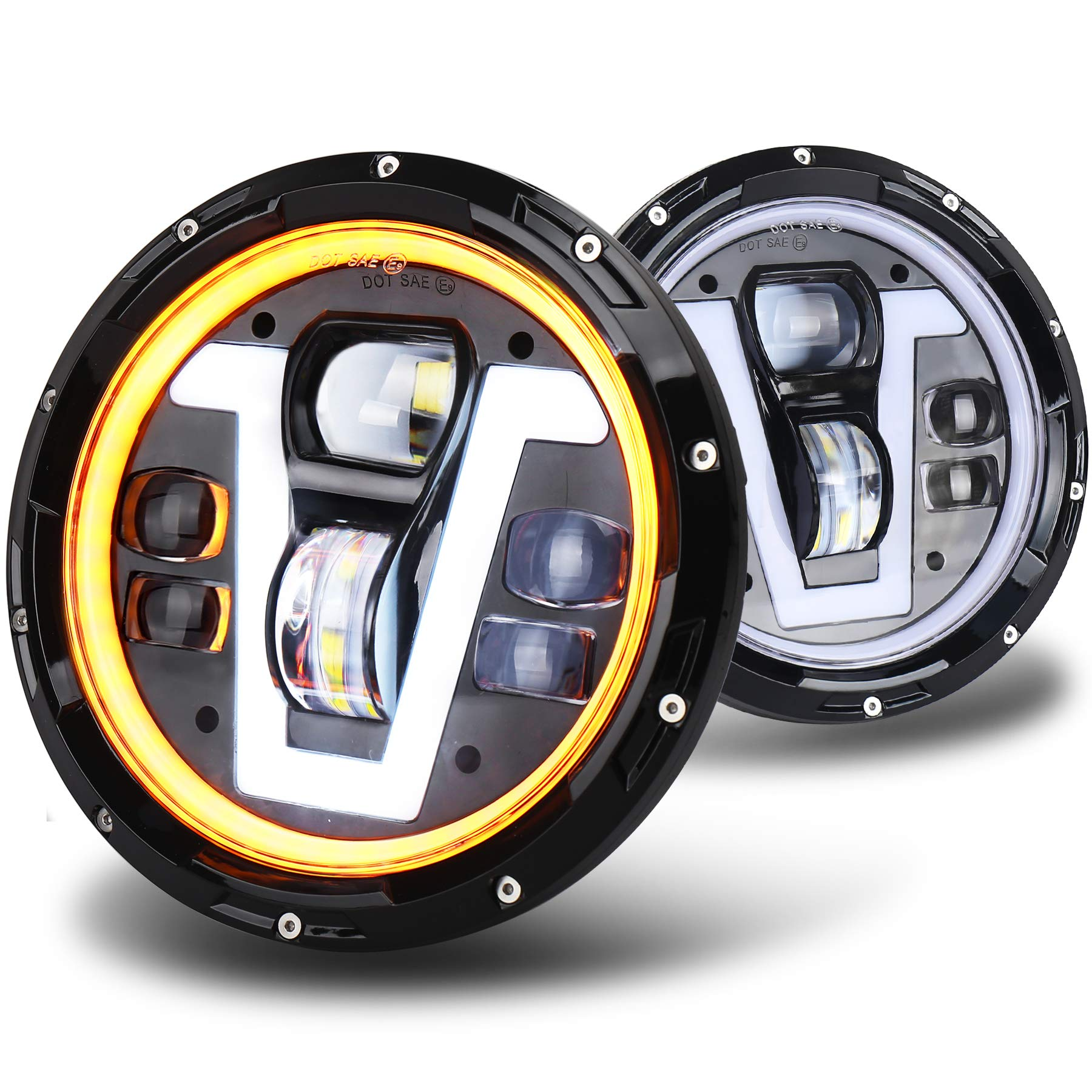 2Pcs 7 Round 80W LED Headlights with White Halo Ring Angel Eyes/& Amber Turn Signal Lights DRL Hi//Lo Beam Jk
