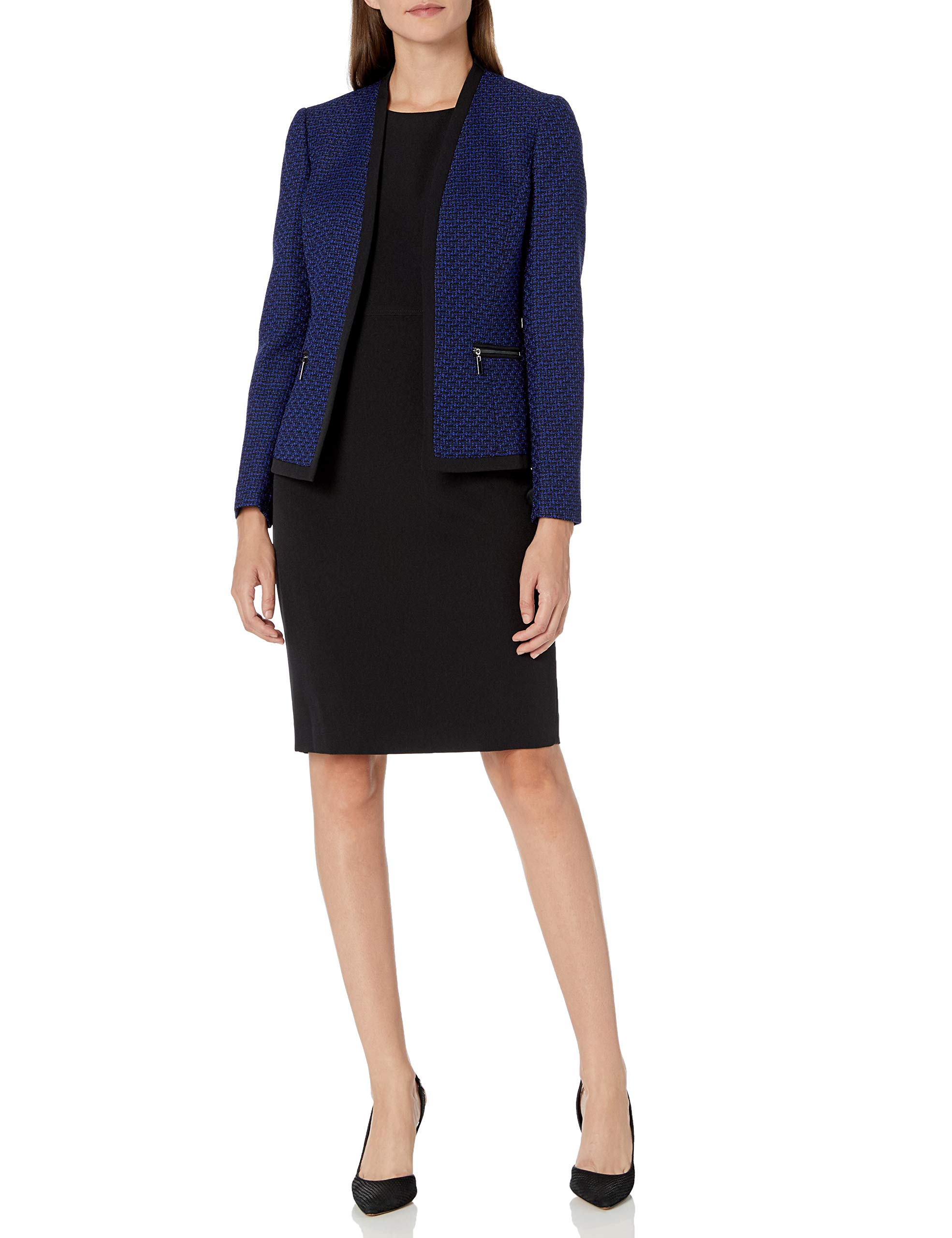 Le Suit Women's Two Toned Tweed Framed Jacket Sheath Dress Suit, Sapphire/Black, 14 by Le Suit