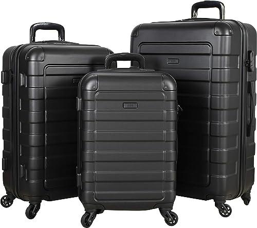 Travel Prime 3-Piece Hardside Spinner Luggage Set BLACK