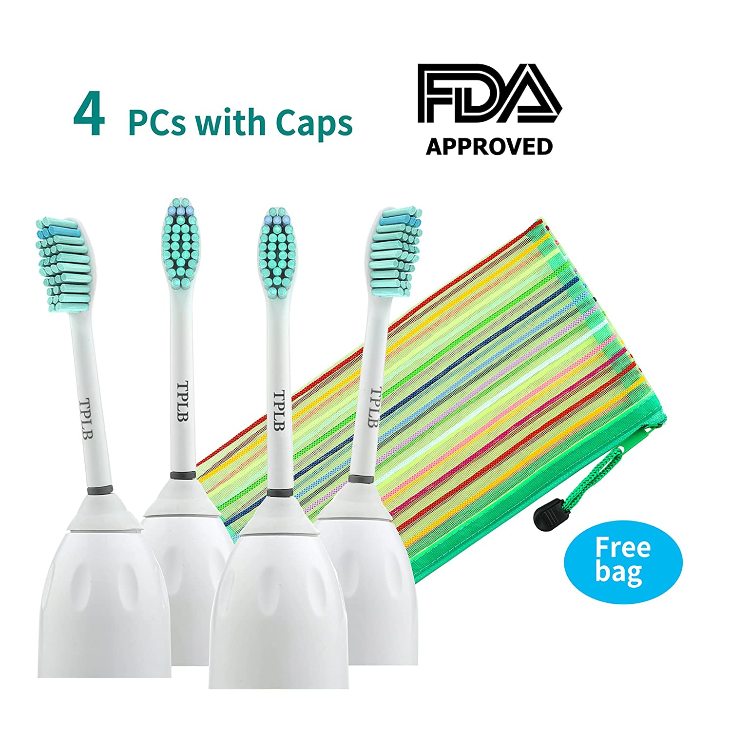 2017 TPLB 4 Electric Toothbrush Replacement Heads For Philips Sonicare E-Series | BPA Free Bristles, Reduced Noise & Perfect Fit | For Advanced, CleanCare, Elite, Essence & Xtreme |Free Toiletry Bag