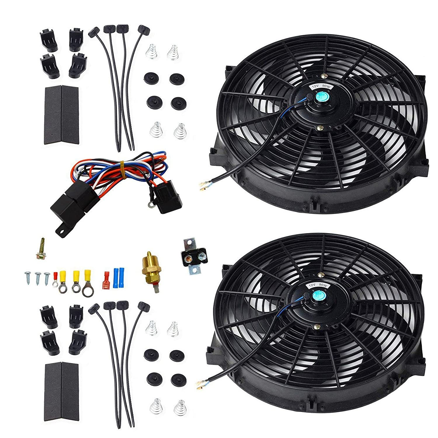"BLACKHORSE-RACING 16"" Universal Electric Radiator Cooling Fans + Thermostat Relay & Mount Kit (2 Pcs)"