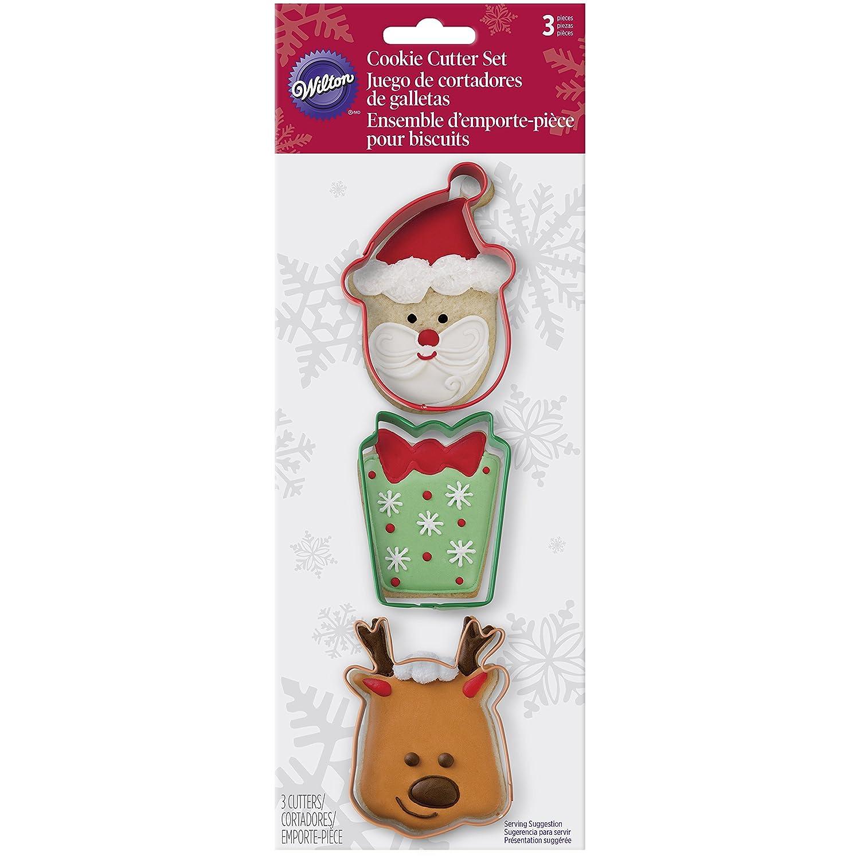Amazon.com: Wilton 3 Piece Holiday Metal Cookie Cutter Set (Santa ...